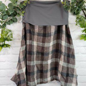 Elemente Clemente Skirt Linen Circle Taupe Plaid